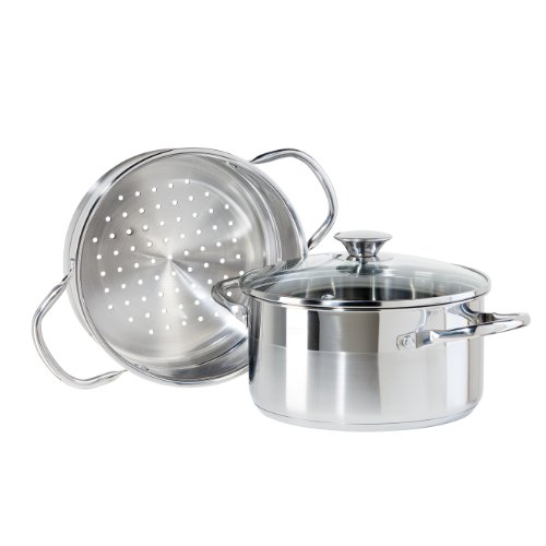 Oggi 5625.0 3-Piece Stainless Steel Vegetable Steamer Set