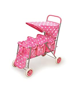 Badger Basket Polka Dots Triple Doll Stroller - Pink/White