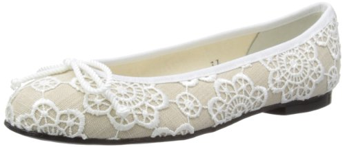 French Sole Womens Henrietta Nude Textile/White Lace Overlay Ballet Flats SS13114 7 UK, 40 EU