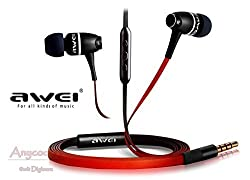 """Cable Hunterâ""""¢ Metal Rock Awei (580VI)Super Bass AWEI In-Ear Earbuds Headset with Mic Microphone and Volume Control Heavy Stereo Bass with 3.5mm Jack - Black & Red - 2 Years Warranty"""