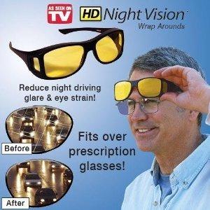 MILITARY HD Night Vision Polarized Wrap Around Glasses Designer BLACK Shell Frame/ Amber Lense