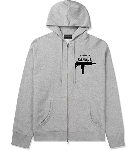 Welcome To Canada Uzi Machine Guns Country Zip Up Hoodie Hoody XX-Large Grey (Canada Zip Up Hoodie compare prices)