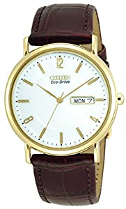 Citizen Eco-Drive Men's Gold-Tone Leather Watch #BM8242-08A