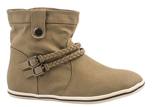 Elara Damen Schlupfstiefel | Flache Stiefelette | Trend Boots Farbe Khaki, Größe 42