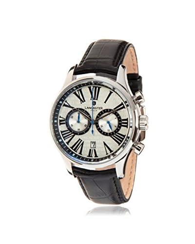 Lancaster Men's Black/White Leather Watch