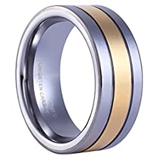 buy King Will 8Mm Flat Top Tungsten Ring Men'S Wedding Band Grooved 14K Gold Two Tone Grooved Center Free Ring Box(13)