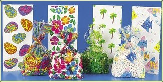 Tropical Luau Cellophane Party Favor Bags - 48 Pc Mega Pack - Tropical Designs Include Palm Trees, Hibiscus, Fish and Flip Flops
