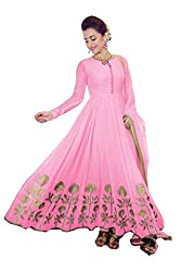 Be With Me Women's Faux Georgette Pink Anarkali Salwar Suit Dress Material