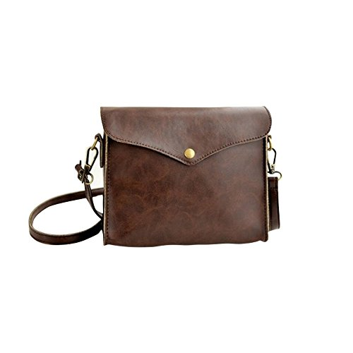 Fortan 1PC Womens Leather Shoulder Bag Satchel Tote della borsa Hobo Messenger (Marrone)