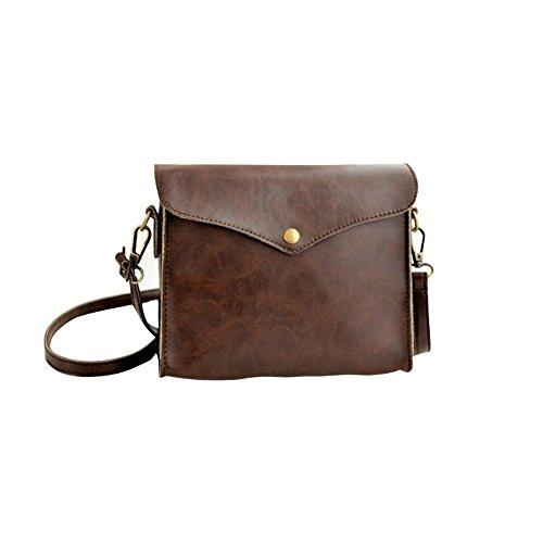 Fortan 1PC Womens Leather Shoulder Bag Satchel Tote della borsa Hobo Messenger (Marrone)