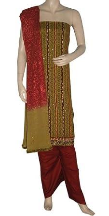 Traditional Printed Unstitched Salwar Kameez Suit With Mirror Golden Work
