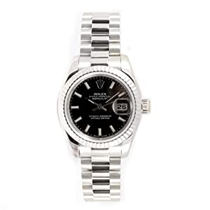 Rolex Ladys President New Style Heavy Band 18k White Gold Model 179179 Fluted Bezel Black Stick Dial