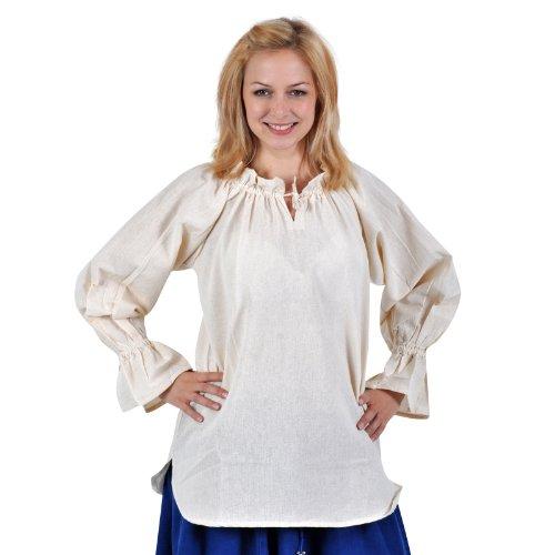 Morgan - Blusa medievale femminile - Con scollo a barchetta e balze - Bianco - M