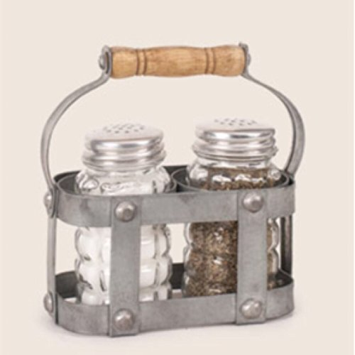 Vintage Metal Milk Crate Salt and Pepper Holder with Clear Shakers