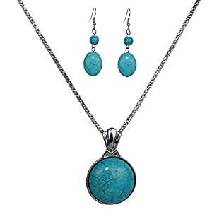 Yazilind Vintage Tibetan Silver Pretty Ruond Turquoise Pendant Necklace Earrings Jewelry Set