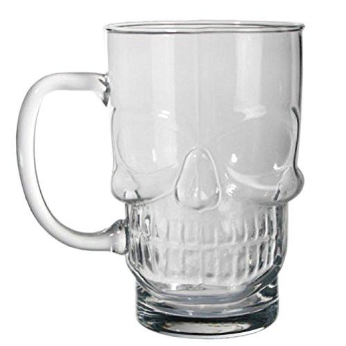 Bicchiere Boccale da Birra in Vetro 700 ml Grande a Forma di Teschio Skull Beer