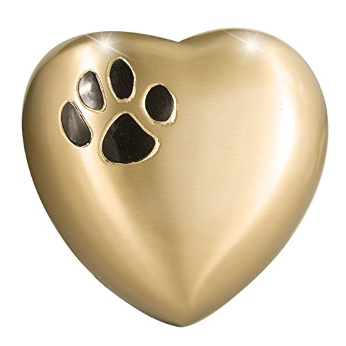 Heart Model by Meilinxu- Pet Urns for Dogs Ashes or Cremation Cat Urns for Ashes- Hand Made in Brass and Hand Engraved- Attractive Display Burial Urn- Dog Memorial and Cat Memorial (Paw Heart-Shaped (Ashes Container compare prices)