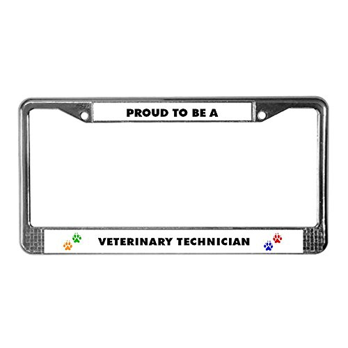 CafePress - Proud to be a Vet Tech License Plate Frame - Chrome License Plate Frame, License Tag Holder (Vet Tech License Plate Frame compare prices)