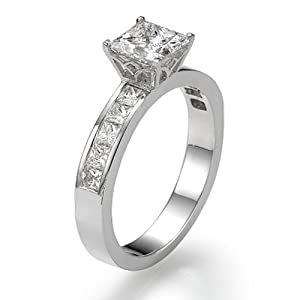 Diamond Engagement Ring with Sidestones 950 Platinum 1.28 ctw Certified Princess Cut 1/2 ct Center Stone H Color VS2 Clarity
