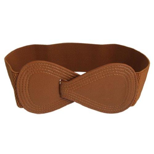 Brown Elastic Interlocking 8-shaped Buckle Waist Belt for Ladies