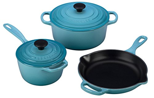 Le Creuset of America 5 Piece Signature Enameled Cast Iron Cookware Set, Caribbean (Le Creuset Cast Iron Skillet Blue compare prices)