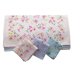 OWM Handkerchiefs Dozen Assorted Pastel Floral Cute Handkerchiefs for Girl
