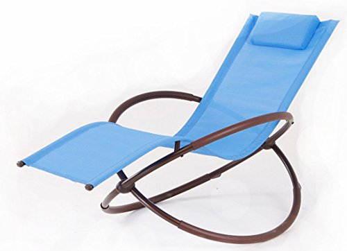Attractive BELLEZZA© Orbital Foldable Zero Gravity Lounge Rocking Chair Steel Beach  Pool Patio, (Blue
