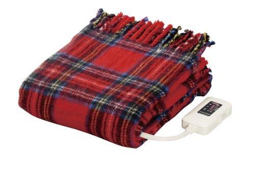 なかぎし 電気ひざ掛け毛布 140×82cm NA-055H-RT チェック(レッド) 日本製 ナカギシ ホットブランケット 丸洗いOK ダニ退治 室温センサー付