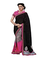 Indian Women Faux Georgette Resham And Patch Work Saree With Unstitched Blouse Piece (Black And Pink)