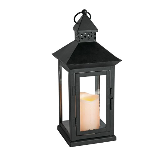 Everlasting Glow Indoor Outdoor Flameless Candle Lantern with Timer, Bisque, 8-1/2 by 14-1/2-Inch