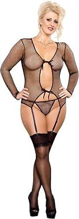 Amazon.com: Plus Size See Through Black Fishnet Lingerie Set - Queen