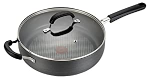 T-fal C03782 OptiCook Hard Anodized Thermo-Spot Scratch Resistant Titanium Nonstick Oven Safe PFOA Free Jumbo Cooker Saute Pan Cookware, 5-Quart, Black