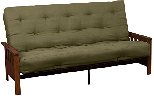 Epic Furnishings Portland 10-Inch Inner Spring Futon Sofa/Sleeper Bed, Full, Walnut Arms Suede Olive Green Upholstery front-286546
