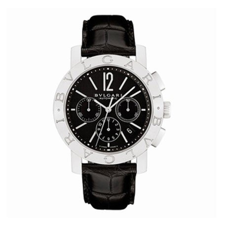 Bvlgari Bvlgari Black Dial Chronograph Black Leather Automatic Mens Watch BB42BSLDCH