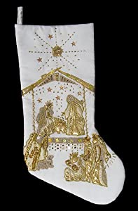"17"" White Christmas Stocking with Gold Beaded Religious Nativity Scene"
