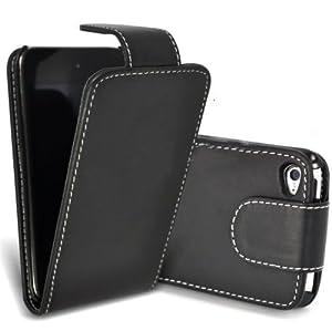 Top-Zubehör Ledertasche Bag Case Etui Schutzhülle SCHWARZ For Apple iPod Touch 4 4G 4TH (inkl. Schutzfolie)