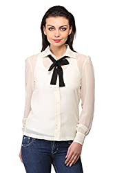 Ladybug Women Sheer Top with Tie Up Around Neck