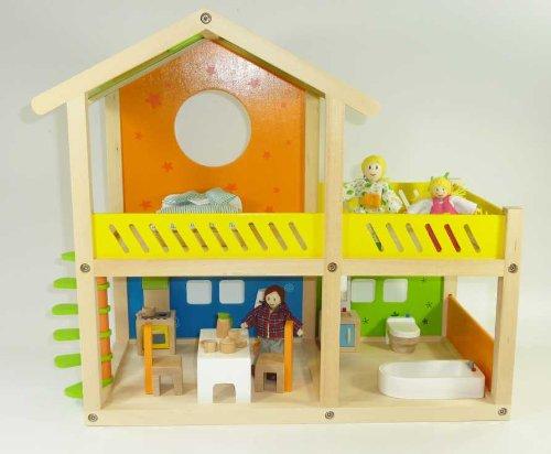 Kleine Villa 26-tlg. Holzspielzeug Puppenhaus