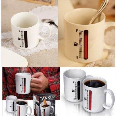300Ml Thermometer Heat-Sensitive Printing Coffee Tank Up Mug Cup-White