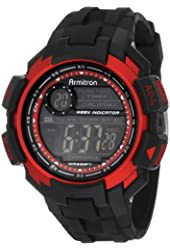 Armitron Sport Men's 40/8258RED Chronograph Black Resin Red Accented Digital Watch