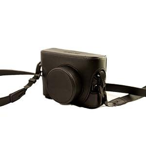 Un Etui caisson à deux volets en cuir pour appareils photo numériques Fuji FujiFilm Finepix X10 X20(Noir)