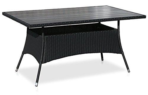 KMH-Gartentisch-mit-scharzem-Polyrattan-und-dunkelgrauer-Tischplatte-150-x-90-cm-106082