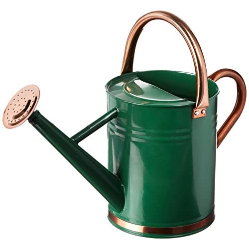 Gardman 8327 Hunter Green Galvanized Steel Watering Can with Copper Accents, 1-Gallon