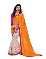 Status Orange & Off White Color Printed Saree On Bhagalpuri Silk Fabric. - B00O28Q8K2