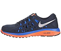 Mens Nike Dual Fusion Run 2 Running Shoe Armory Navy/Blue Hero/Total Orange/Metallic Silver Size 10