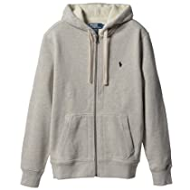 Polo Ralph Lauren Full-zip Heavy Hooded Sweatshirt Jacket (X-Large / XL, Grey / Navy Blue Pony)