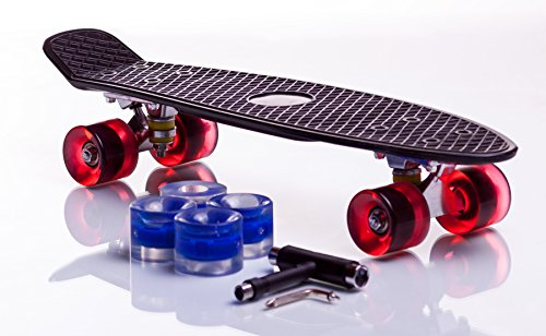 Cruiserboard Retro Skateboard - Limited Edition with 4x Bonus Light-Up LED Wheels (Black and Red)