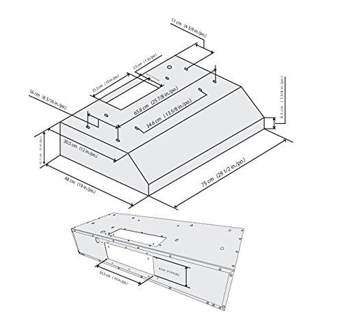 Ancona Stainless Steel Slim 5-Inch High 300 CFM 4-Speeds Under Cabinet Range Hood, 30-Inch