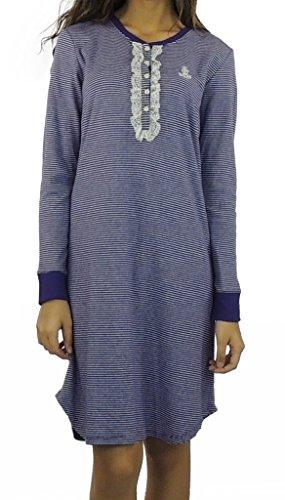 Ralph Lauren Women'S Long Sleeve Nightgown Medium Purple/White