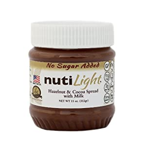 NUTILIGHT MILK- NO SUGAR ADDED, LOW CARB, HAZELNUT AND COCOA SPREAD WITH MILK 11 oz. Jar
